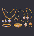 golden jewelry collection expensive accessories vector image