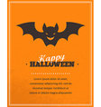 Halloween cute poster with bat silhouette vector image vector image