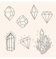 Hand drawn set sketch crystaldiamond and polygonal vector image vector image
