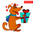 happy dog with present vector image vector image
