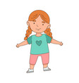 happy little redhead girl standing with open arms