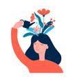 happy woman girl care herself creates good vector image