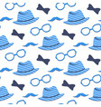 hat glasses mustache bow tie seamless pattern vector image