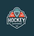 hockey logo sport emblem vector image vector image