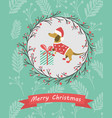 holiday postcard with funny dachshund and gift vector image vector image