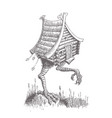 hut on chicken legs goes through the swamp the vector image vector image
