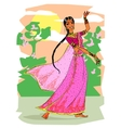 Indian woman dancing vector image