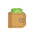 leather wallet with money flat isolated icon vector image