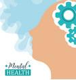mental health day human head brain gears solution vector image vector image
