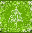 merry christmas hand drawn lettering in snowflakes vector image vector image