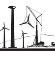 mobile crane installing wind turbine in the field vector image