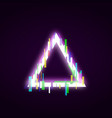 neon triangle with glitch effect abstract style vector image vector image
