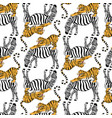 pattern with hand drawn tiger vector image