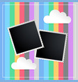 photo frame in kids scapbook memorty book vector image vector image