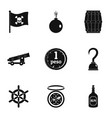 pirates icon set simple style vector image vector image