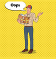 pop art courier with damaged parcel delivery man vector image vector image