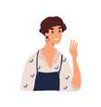 portrait happy smiling woman in apron greeting vector image