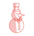 red shading silhouette of snowman with bow tie and vector image vector image