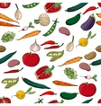 Seamless pattern with different fresh vegetables vector image vector image