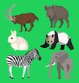 Set animals goat wild boar panda rabbit zebra vector image