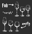 set different glasses ful and empty in top view vector image vector image