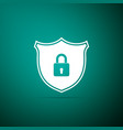 shield security with lock icon on green background vector image vector image