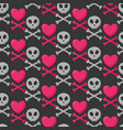 skull heart and crossbones seamless pattern vector image vector image
