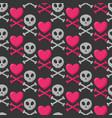 skull heart and crossbones seamless pattern vector image vector image