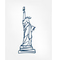 statue liberty sight art line isolated vector image