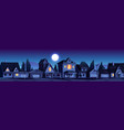 street in suburb district with houses at night vector image