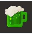 Stylized shiny glass mug with green beer and foam vector image vector image
