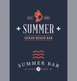 summer time beach logo set vector image vector image