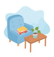 sweet home armchair with books potted plant on vector image vector image