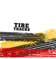 tire track marks backgorund in different colors vector image vector image