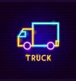 truck neon label vector image