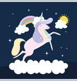 unicorn on cloud vector image vector image