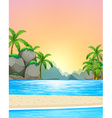 View of the beach at sunset vector image vector image