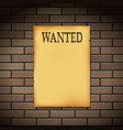 wanted reward western poster on a brick wall vector image vector image