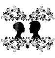 wedding silhouette with flourishes 6 vector image vector image