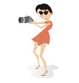 young woman with a camera isolated vector image