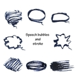 hand drawn bubble speech and stroke vector image