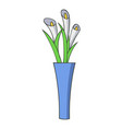 vase flowers icon cartoon style vector image
