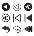 Backward icon set vector image vector image