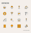 building construction thin line icons vector image