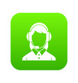 business woman with headset icon digital green vector image vector image