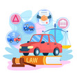 car insurance traffic sign contract and handshake vector image