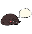 cartoon curled up dog with thought bubble vector image vector image