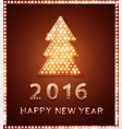 christmas greeting card with tree retro light vector image vector image