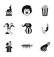 Circus performance icons set simple style vector image vector image