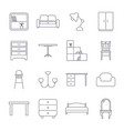 collection home furniture icons in thin line vector image
